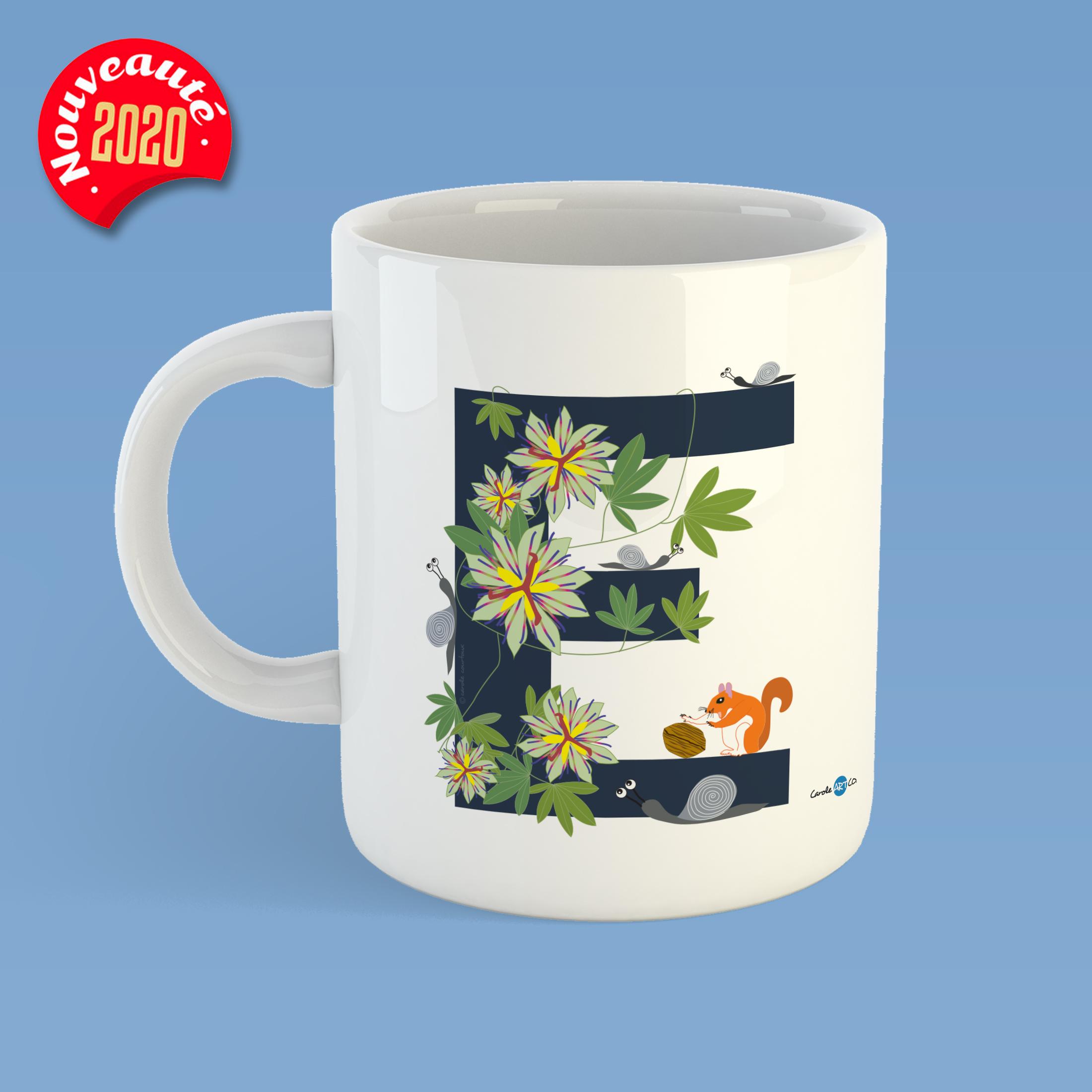 mug-ABC-E mug personnalisé illustration enfant