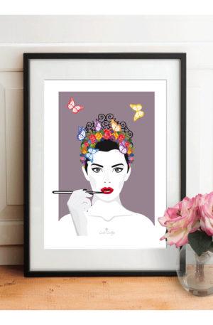 affiche a4 illustration visagefleurs by carole courtoux