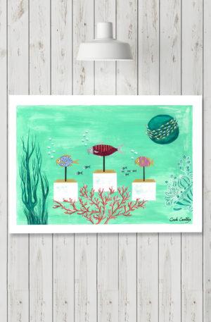 affiches1-peinture-mer et fish by carole courtoux