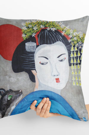 coussin 40x40 peinture geisha by carole courtoux