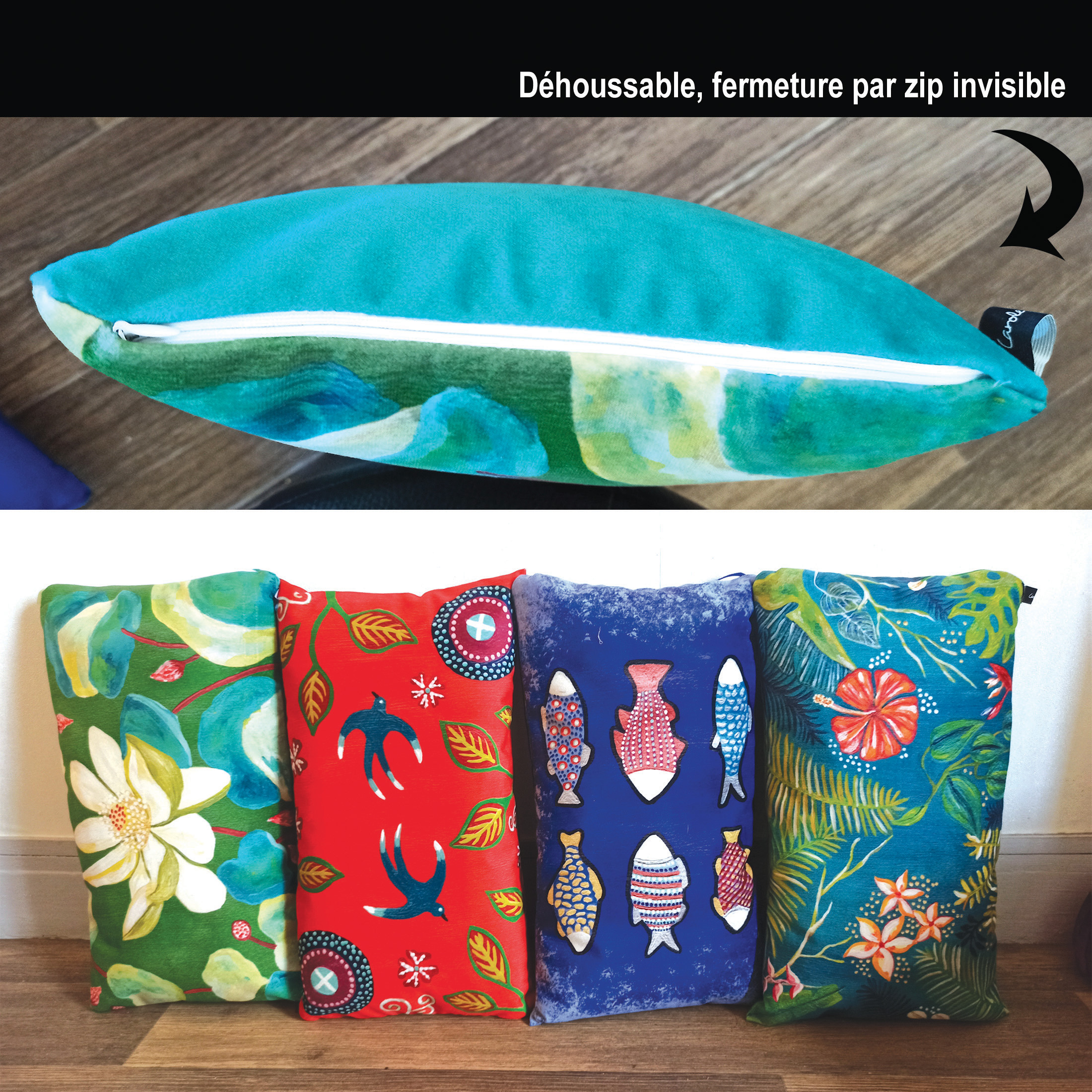 coussins 50x30 caroleartco-nenuphar2 by carole courtoux