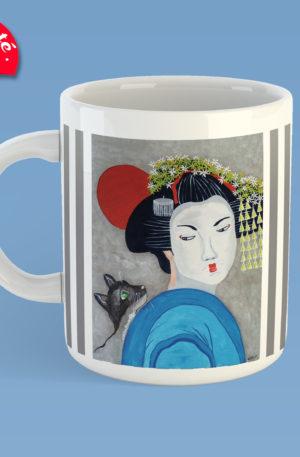mug peinture geisha by carole courtoux