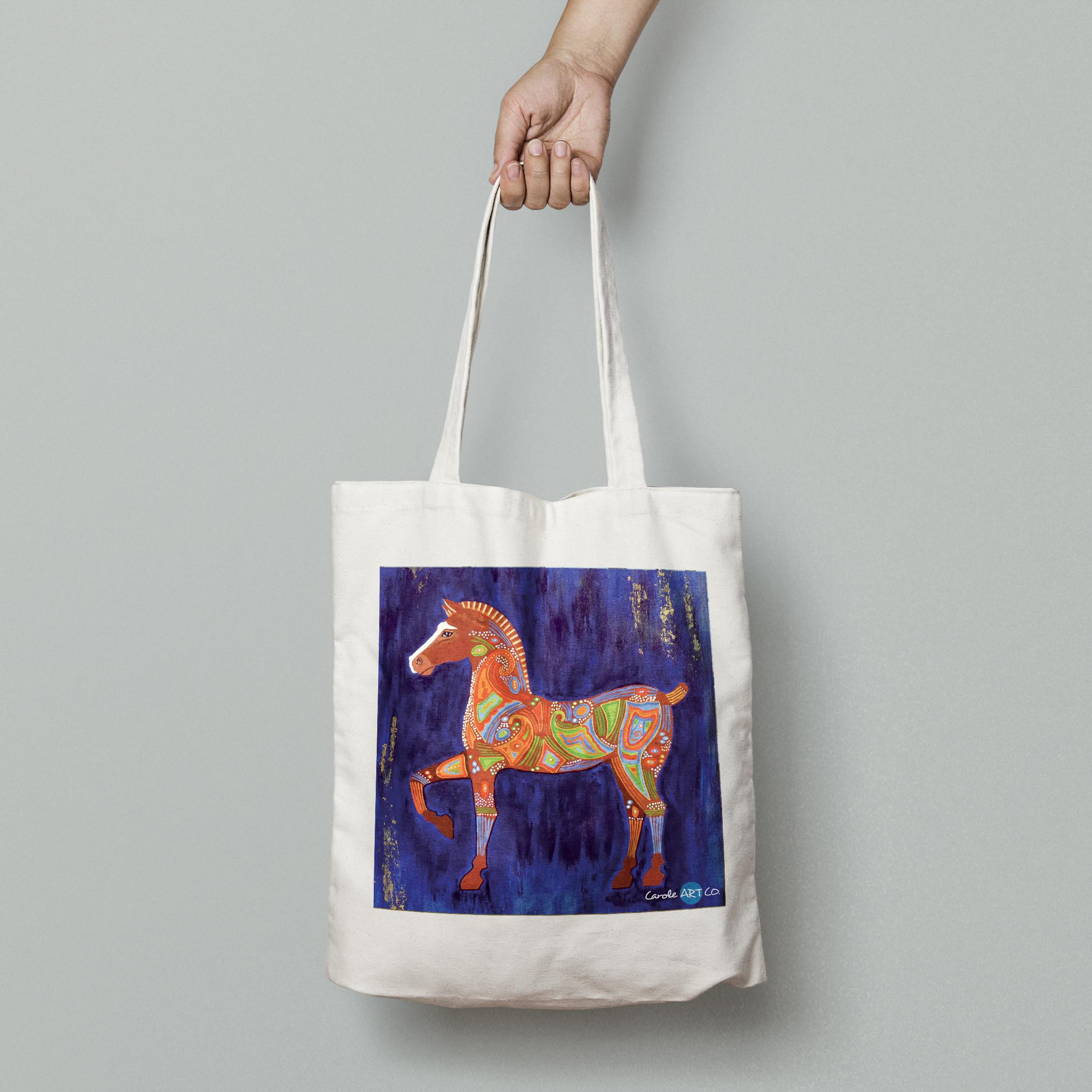 TOTE BAG personnalisé blanc peinture cheval de Troie by carole courtoux