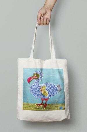 TOTE BAG personnalisé blanc peinture dodo by carole courtoux