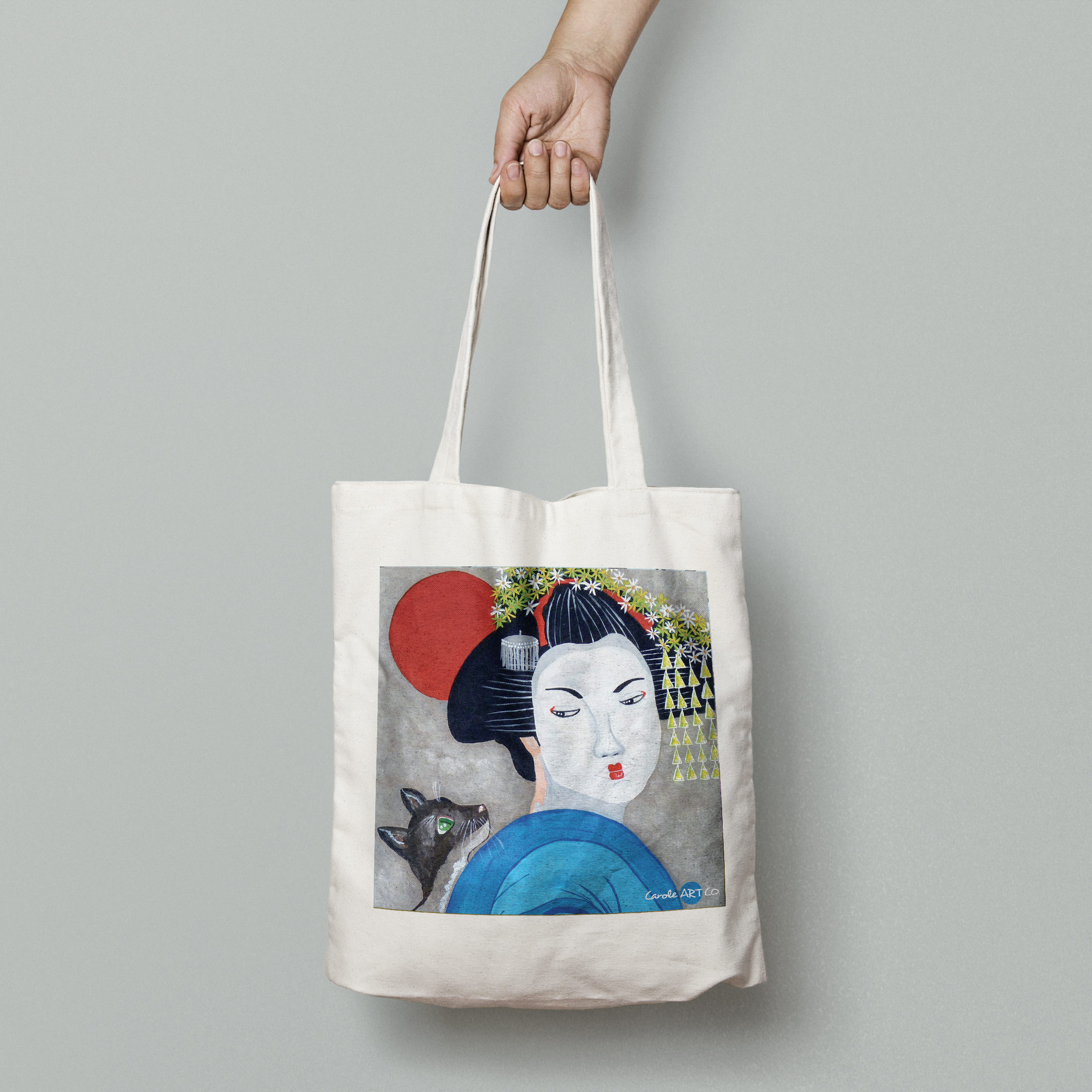 TOTE BAG personnalisé blanc peinture geisha by carole courtoux