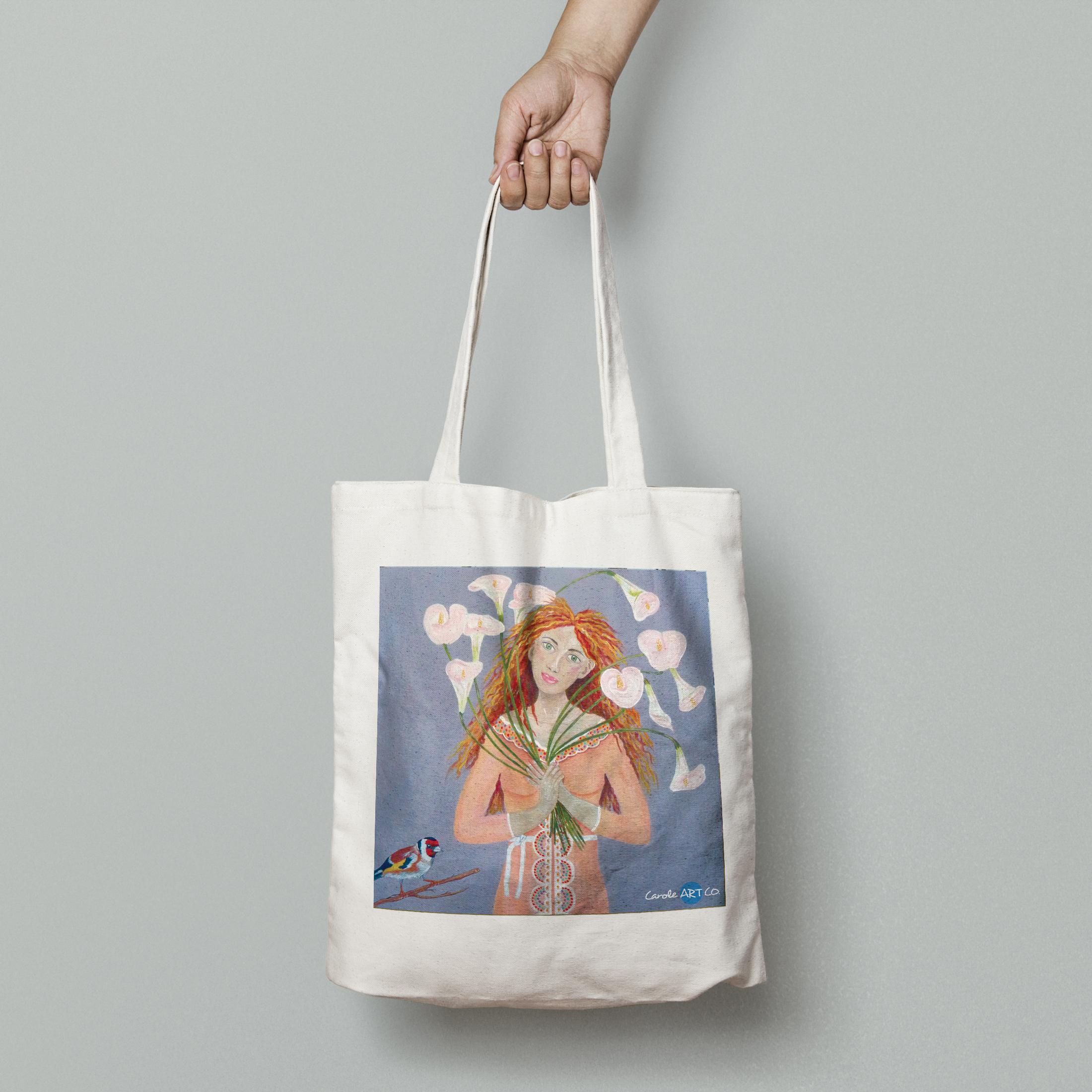 TOTE BAG personnalisé blanc peinture jfauxarums by carole courtoux