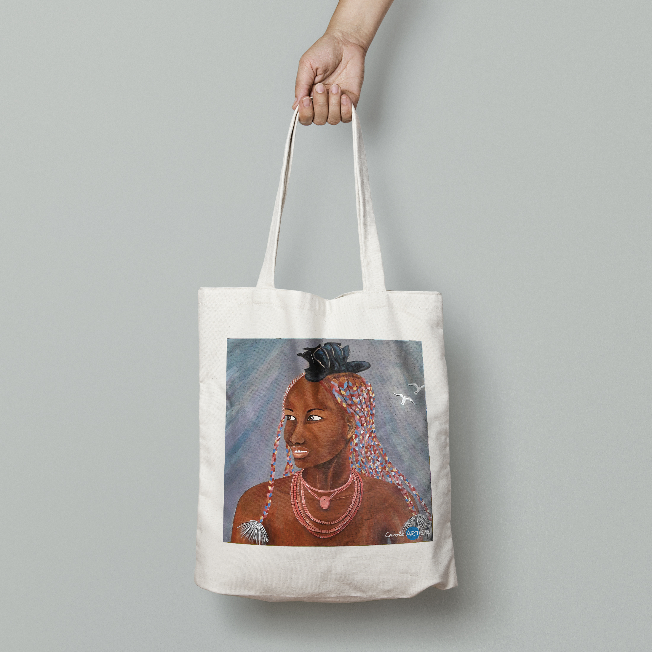 TOTE BAG personnalisé blanc peinture nimba by carole courtoux