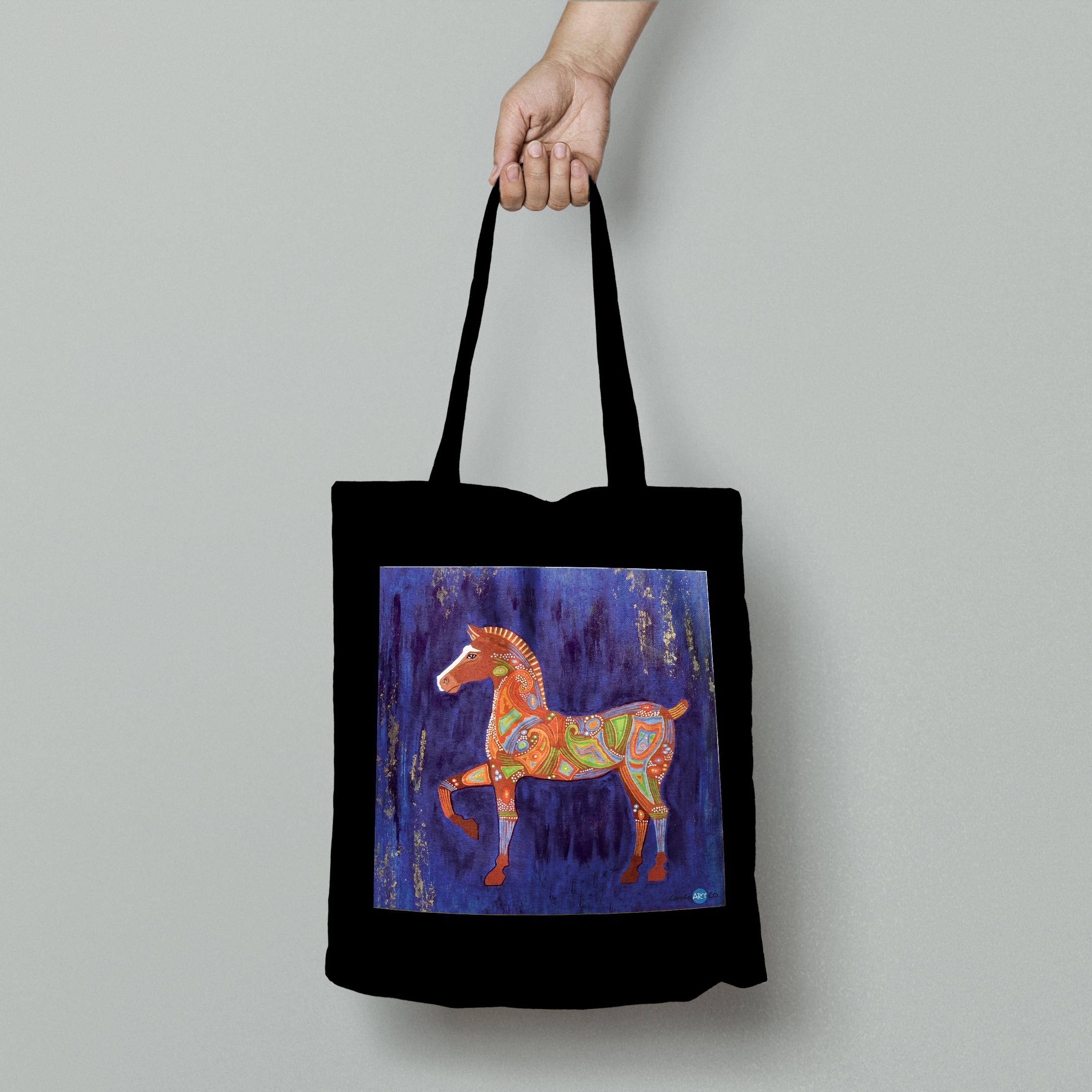 TOTE BAG personnalisé noir peinture cheval de Troie by carole courtoux