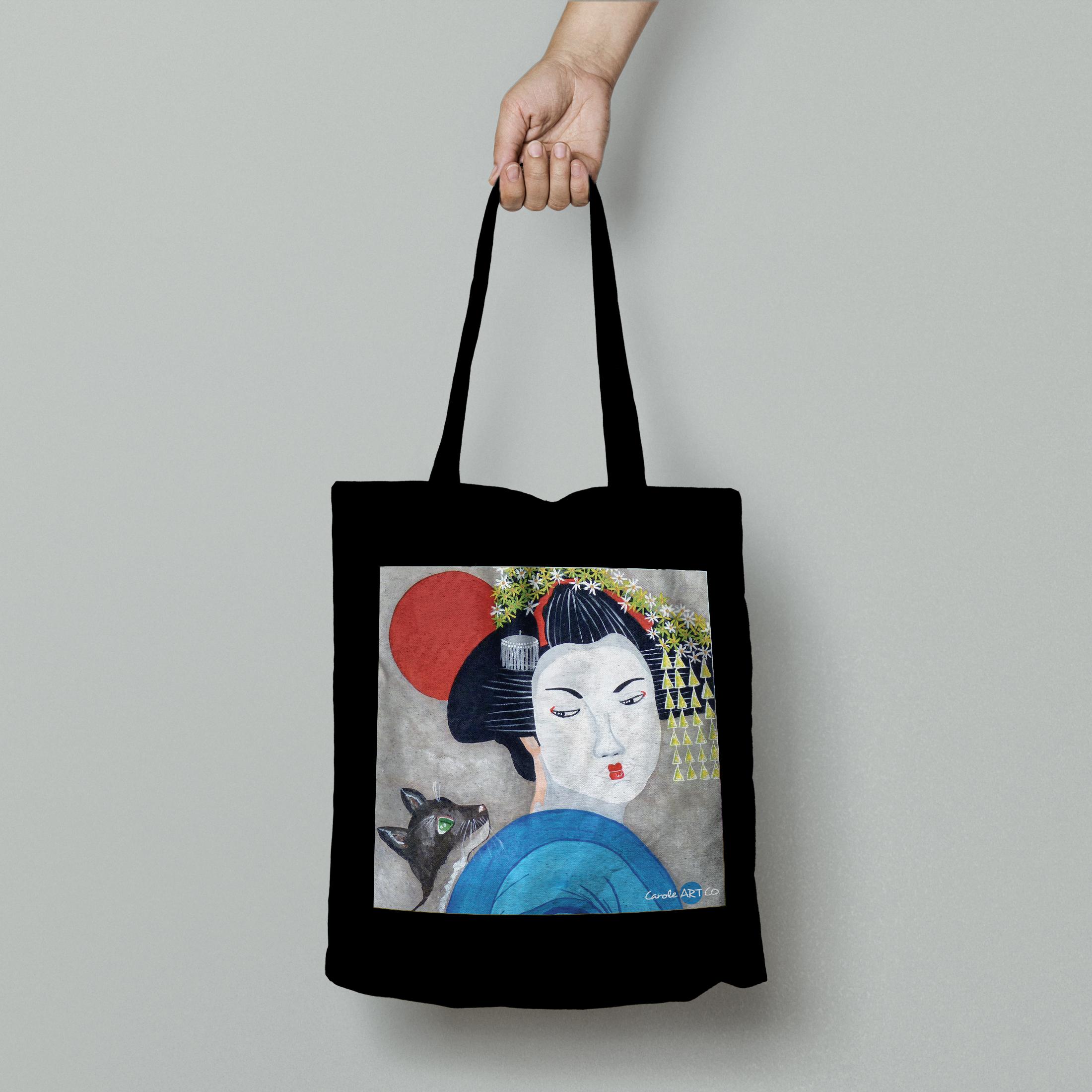 TOTE BAG personnalisé noir peinture geisha by carole courtoux