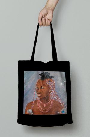 TOTE BAG personnalisé noir peinture nimba by carole courtoux